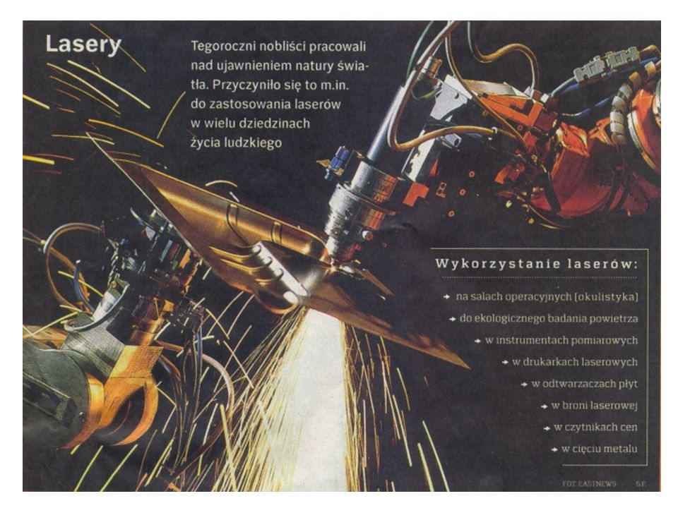 Połowa podręcznika dotyczy treści niniejszego wykładu PIF Druga część odpowiada treści wykładu Fotonika na specjalności Inżynieria Fotoniczna