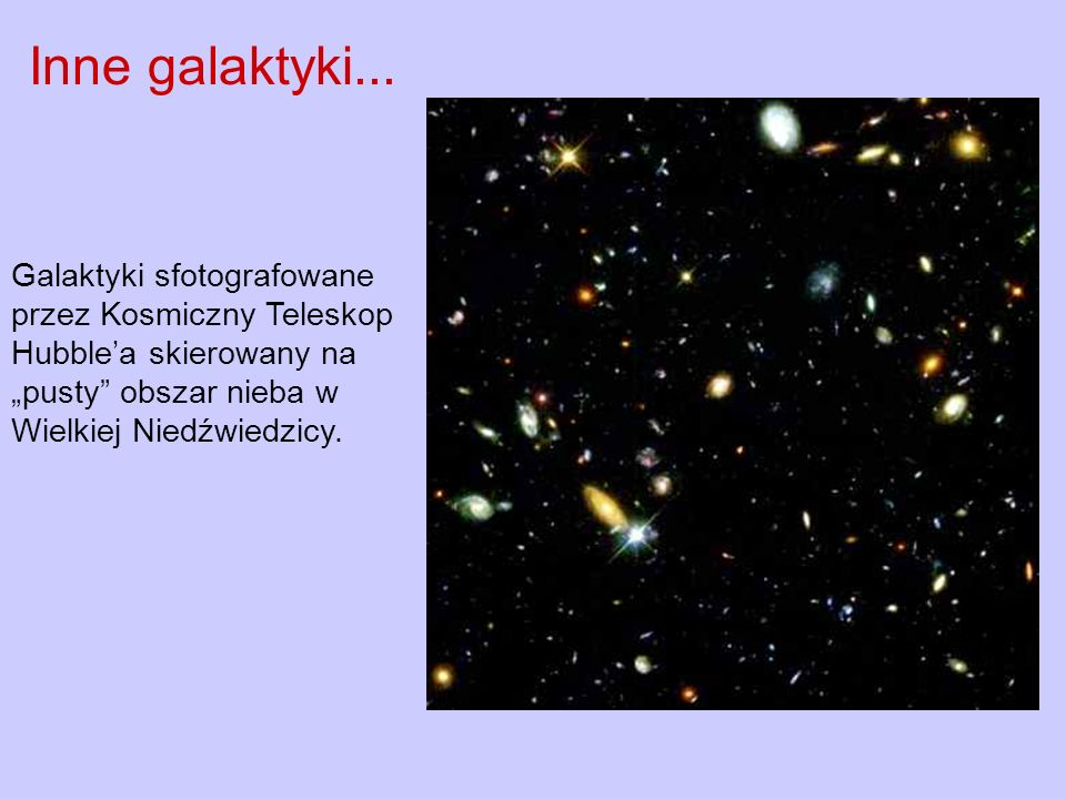 Galaktyki sfotografowane przez Kosmiczny Teleskop Hubblea skierowany na pusty obszar nieba w Wielkiej Niedźwiedzicy. Inne galaktyki...