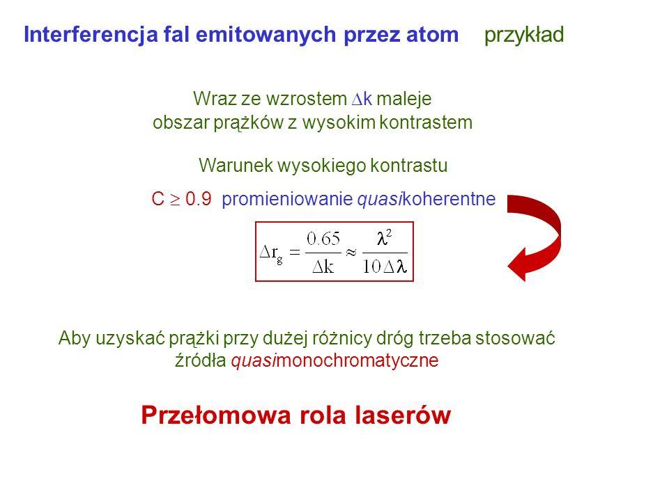 Interferencja fal emitowanych przez źródło punktowe Wraz ze wzrostem odległości od punktu, dla którego r 1 = r 2 rośnie r oscylują wartości cos(k r) m