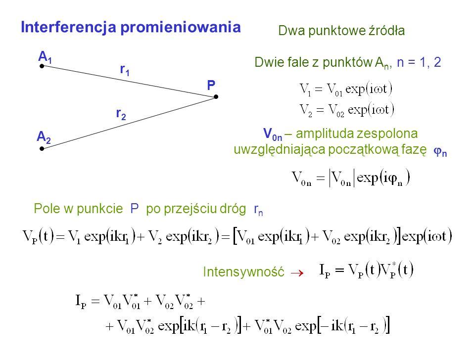 Dwie fale z punktów A n, n = 1, 2 V 0n – amplituda zespolona uwzględniająca początkową fazę n Pole w punkcie P po przejściu dróg r n Intensywność Dwa punktowe źródła Interferencja promieniowania A1A1 A2A2 P r1r1 r2r2
