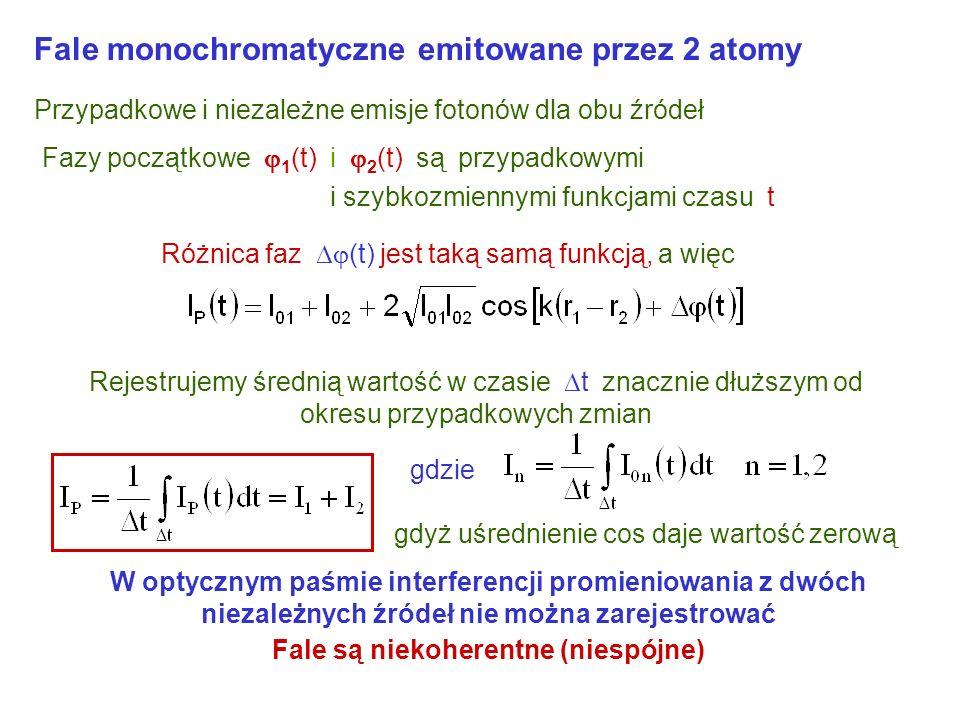 Fale monochromatyczne emitowane przez 2 atomy Przypadkowe i niezależne emisje fotonów dla obu źródeł Fazy początkowe 1 (t) i 2 (t) są przypadkowymi i szybkozmiennymi funkcjami czasu t Różnica faz (t) jest taką samą funkcją, a więc W optycznym paśmie interferencji promieniowania z dwóch niezależnych źródeł nie można zarejestrować Fale są niekoherentne (niespójne) Rejestrujemy średnią wartość w czasie t znacznie dłuższym od okresu przypadkowych zmian gdyż uśrednienie cos daje wartość zerową gdzie
