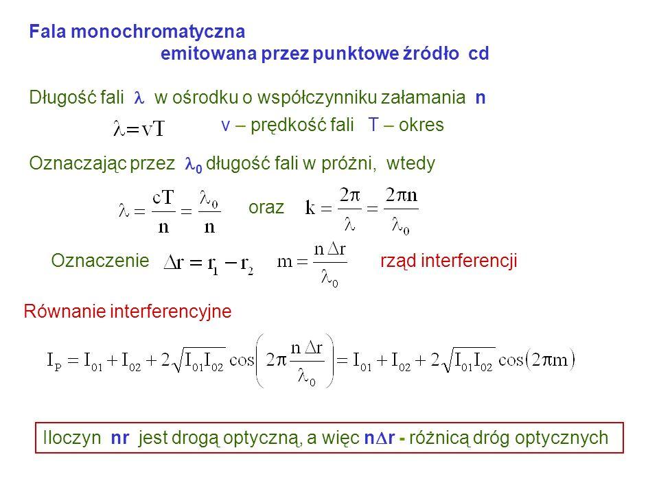 Fala monochromatyczna emitowana przez punktowe źródło cd Długość fali w ośrodku o współczynniku załamania n v – prędkość fali T – okres Oznaczając przez 0 długość fali w próżni, wtedy oraz Równanie interferencyjne Oznaczenierząd interferencji Iloczyn nr jest drogą optyczną, a więc n r - różnicą dróg optycznych