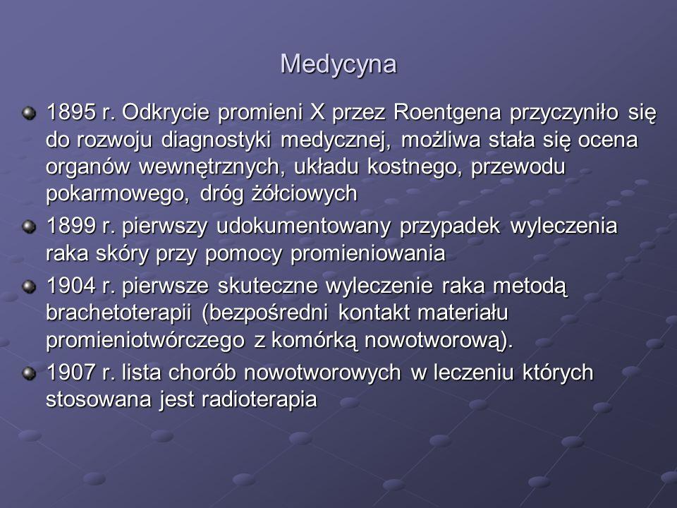 Medycyna 1895 r. Odkrycie promieni X przez Roentgena przyczyniło się do rozwoju diagnostyki medycznej, możliwa stała się ocena organów wewnętrznych, u