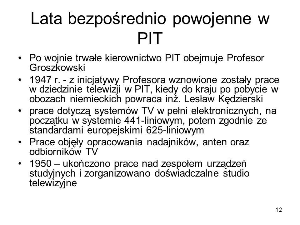 12 Lata bezpośrednio powojenne w PIT Po wojnie trwałe kierownictwo PIT obejmuje Profesor Groszkowski 1947 r. - z inicjatywy Profesora wznowione został