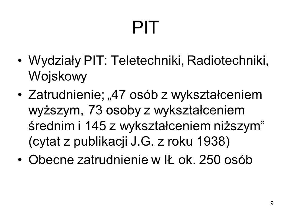 10 Telewizja w PIT Pierwsze na świecie regularne nadawania telewizyjne – Wielka Brytania, 1936 rok Pierwsze prace eksperymentalne w Polsce podjęto w 1928 roku i prowadził je Stefan Manczarski, uzyskując patent w 1929 na sposób telewizyjnego przesyłania obrazów za pośrednictwem drutu i radia (telewizja 36-liniowa z tarczą Nipkowa i synchronicznymi silniczkami elektrycznymi); patent nie znalazł zastosowania Badania systematyczne podjęto w PIT z inicjatywy Profesora Groszkowskiego w 1935 roku, a pod jego kierunkiem prowadził je młody inżynier Lesław Kędzierski Prace prowadzono we współpracy z Polskim Radiem, co zaowocowało w już w latach 1937-38 eksperymentalną emisja telewizyjną w standardzie 120-liniowym z użyciem tarczy Nipkowa Eksperymentalną stacją nadawczą, zlokalizowaną na Prudentialu kierował inż.