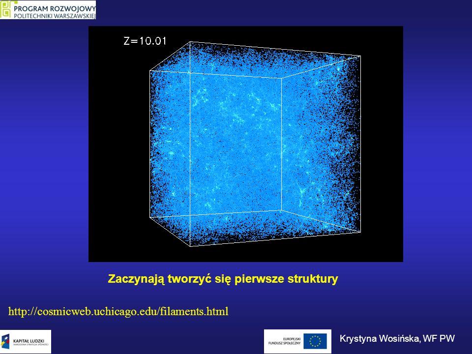 Zaczynają tworzyć się pierwsze struktury http://cosmicweb.uchicago.edu/filaments.html Krystyna Wosińska, WF PW