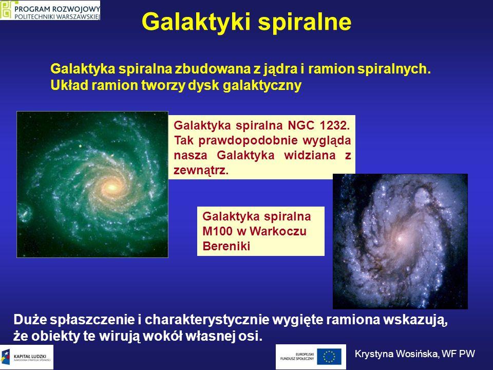 Galaktyki spiralne Galaktyka spiralna zbudowana z jądra i ramion spiralnych. Układ ramion tworzy dysk galaktyczny Galaktyka spiralna NGC 1232. Tak pra