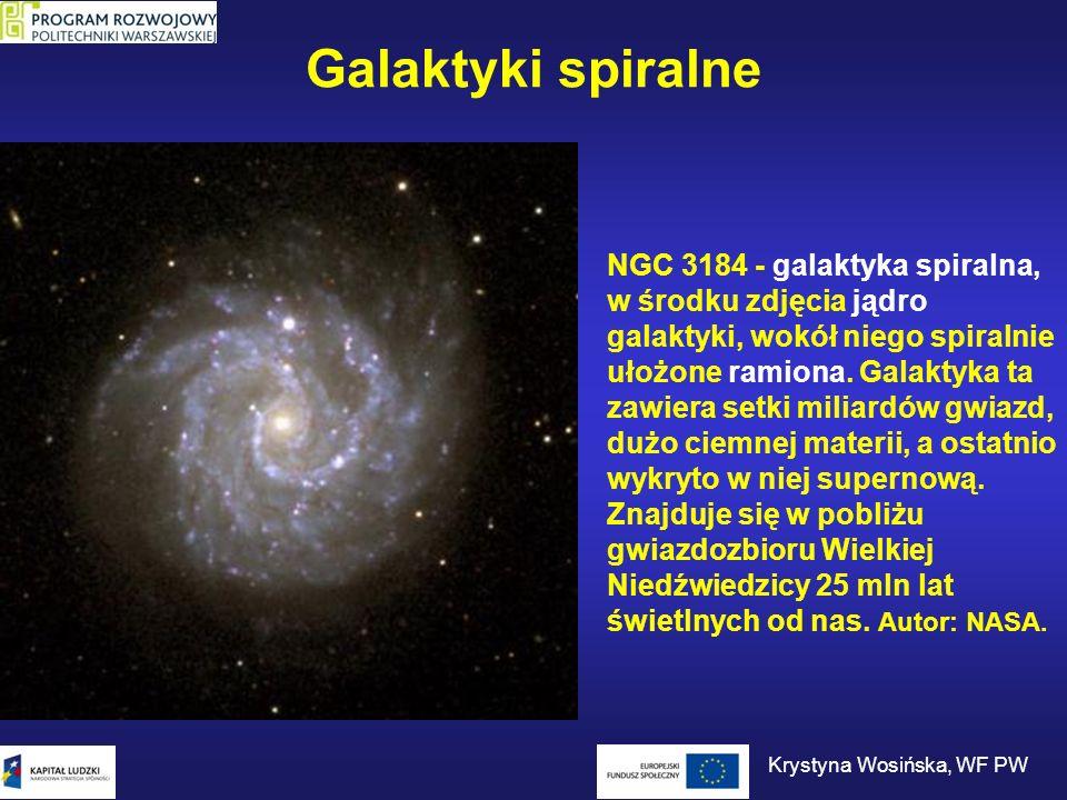 Galaktyki spiralne NGC 3184 - galaktyka spiralna, w środku zdjęcia jądro galaktyki, wokół niego spiralnie ułożone ramiona. Galaktyka ta zawiera setki