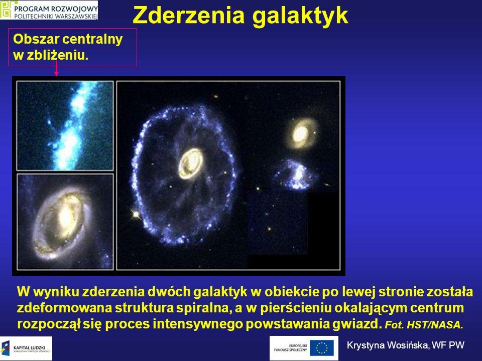 Zderzenia galaktyk W wyniku zderzenia dwóch galaktyk w obiekcie po lewej stronie została zdeformowana struktura spiralna, a w pierścieniu okalającym c