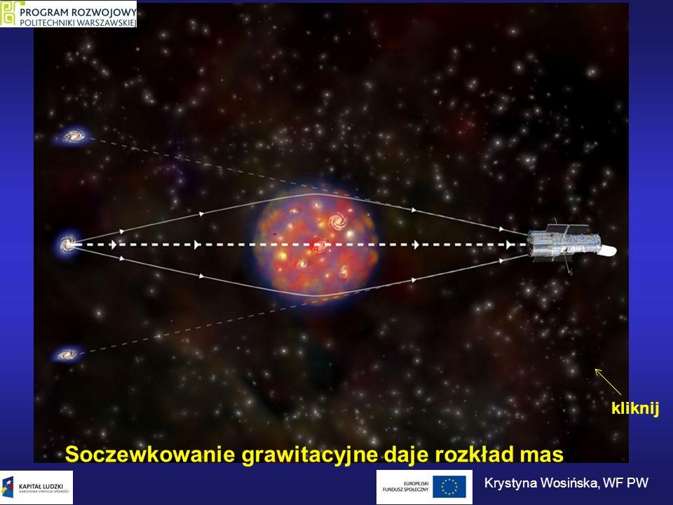 Soczewkowanie grawitacyjne daje rozkład mas kliknij Krystyna Wosińska, WF PW