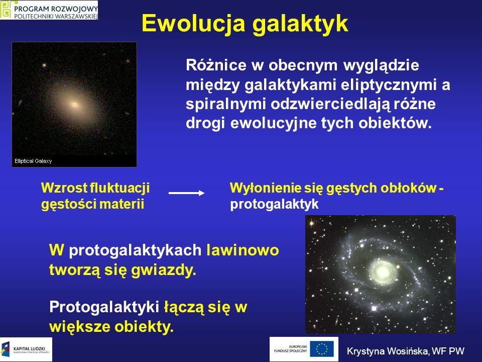 Ewolucja galaktyk Różnice w obecnym wyglądzie między galaktykami eliptycznymi a spiralnymi odzwierciedlają różne drogi ewolucyjne tych obiektów. Wzros