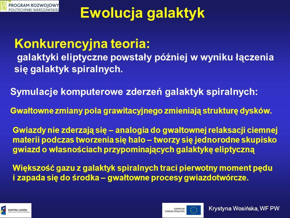 Ewolucja galaktyk Konkurencyjna teoria: galaktyki eliptyczne powstały później w wyniku łączenia się galaktyk spiralnych. Symulacje komputerowe zderzeń