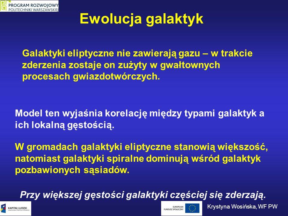 Ewolucja galaktyk Galaktyki eliptyczne nie zawierają gazu – w trakcie zderzenia zostaje on zużyty w gwałtownych procesach gwiazdotwórczych. Model ten
