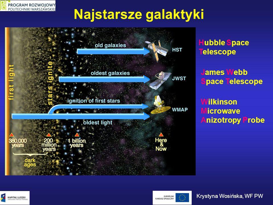 Najstarsze galaktyki Hubble Space Telescope Wilkinson Microwave Anizotropy Probe James Webb Space Telescope Krystyna Wosińska, WF PW