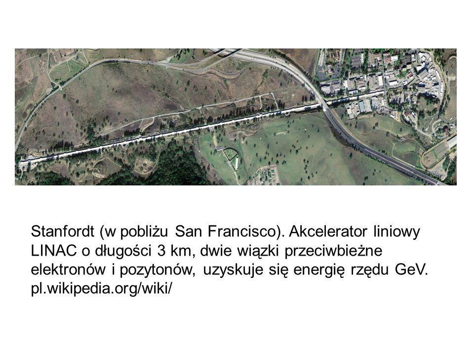 Stanfordt (w pobliżu San Francisco). Akcelerator liniowy LINAC o długości 3 km, dwie wiązki przeciwbieżne elektronów i pozytonów, uzyskuje się energię