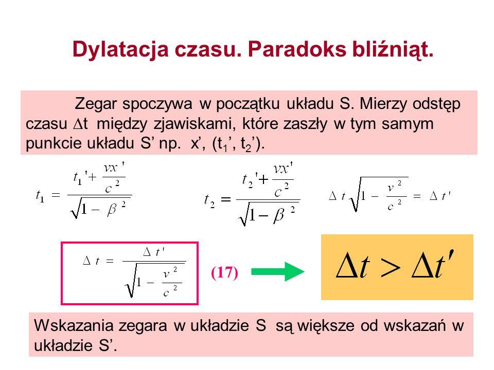 Dylatacja czasu. Paradoks bliźniąt. Zegar spoczywa w początku układu S. Mierzy odstęp czasu t między zjawiskami, które zaszły w tym samym punkcie ukła