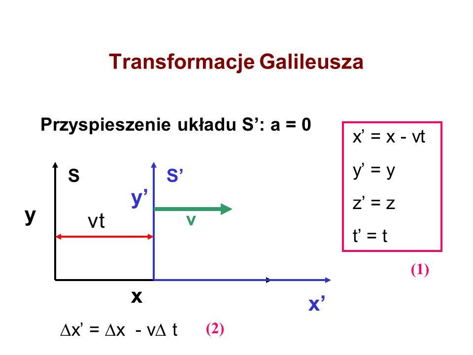 Transformacje Galileusza Przyspieszenie układu S: a = 0 y y x x x = x - vt y = y z = z t = t vt x = x - v t SS (1) (2) v