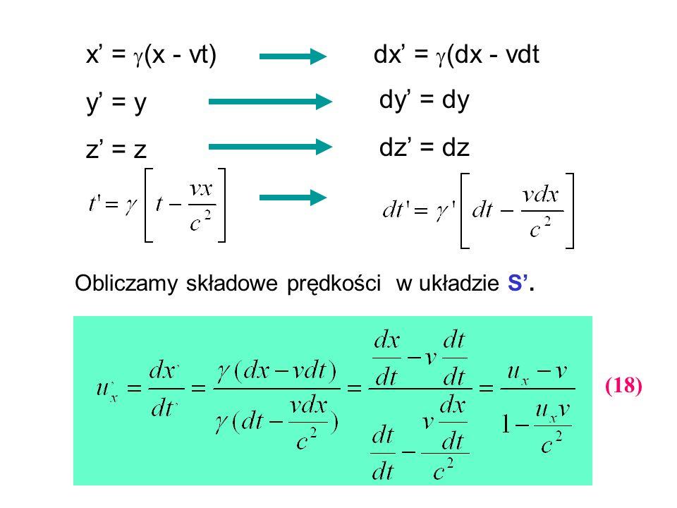 x = (x - vt) y = y z = z dx = (dx - vdt dy = dy dz = dz Obliczamy składowe prędkości w układzie S. (18)
