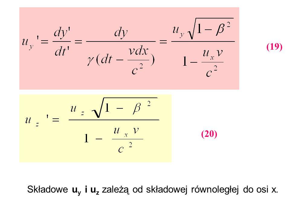 Składowe u y i u z zależą od składowej równoległej do osi x. (19) (20)