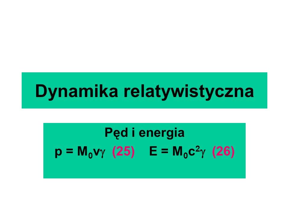 Dynamika relatywistyczna Pęd i energia p = M 0 v (25) E = M 0 c 2 (26)