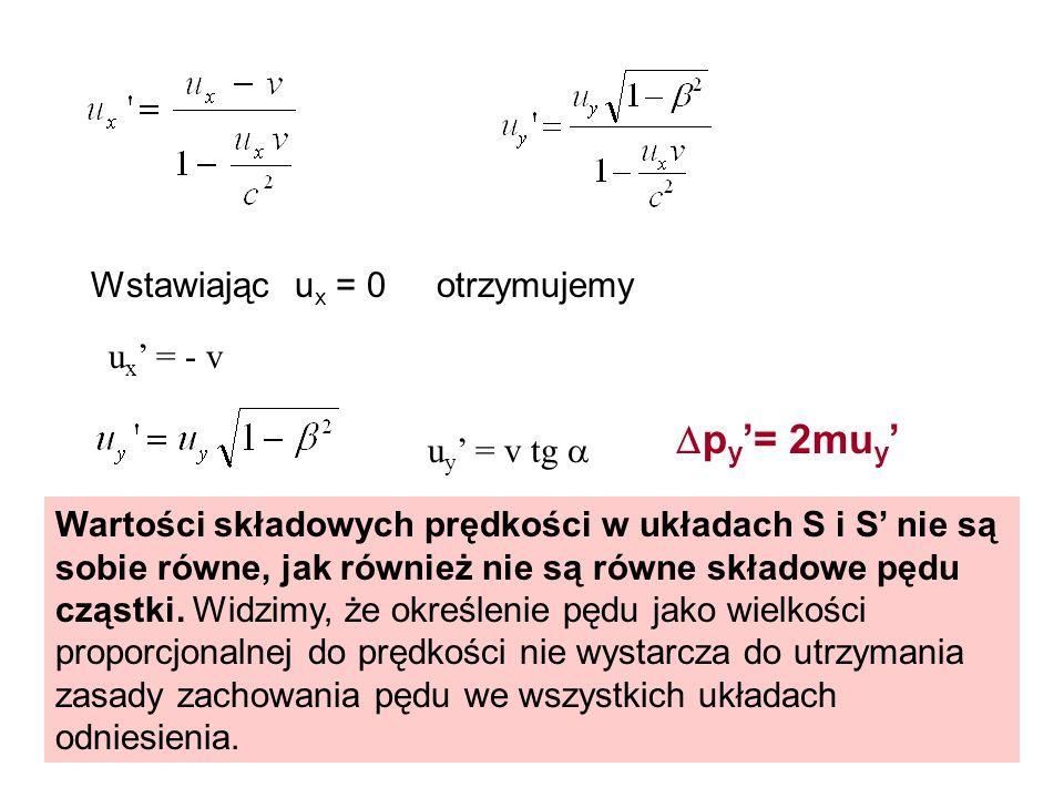 u x = 0Wstawiającotrzymujemy u x = - v u y = v tg Wartości składowych prędkości w układach S i S nie są sobie równe, jak również nie są równe składowe