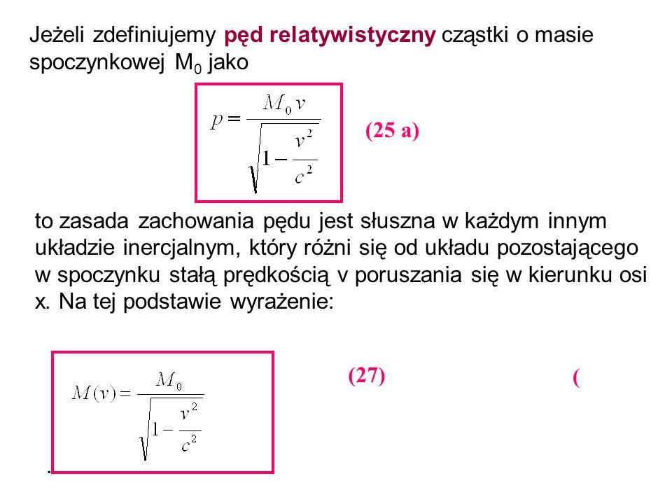 Jeżeli zdefiniujemy pęd relatywistyczny cząstki o masie spoczynkowej M 0 jako to zasada zachowania pędu jest słuszna w każdym innym układzie inercjaln