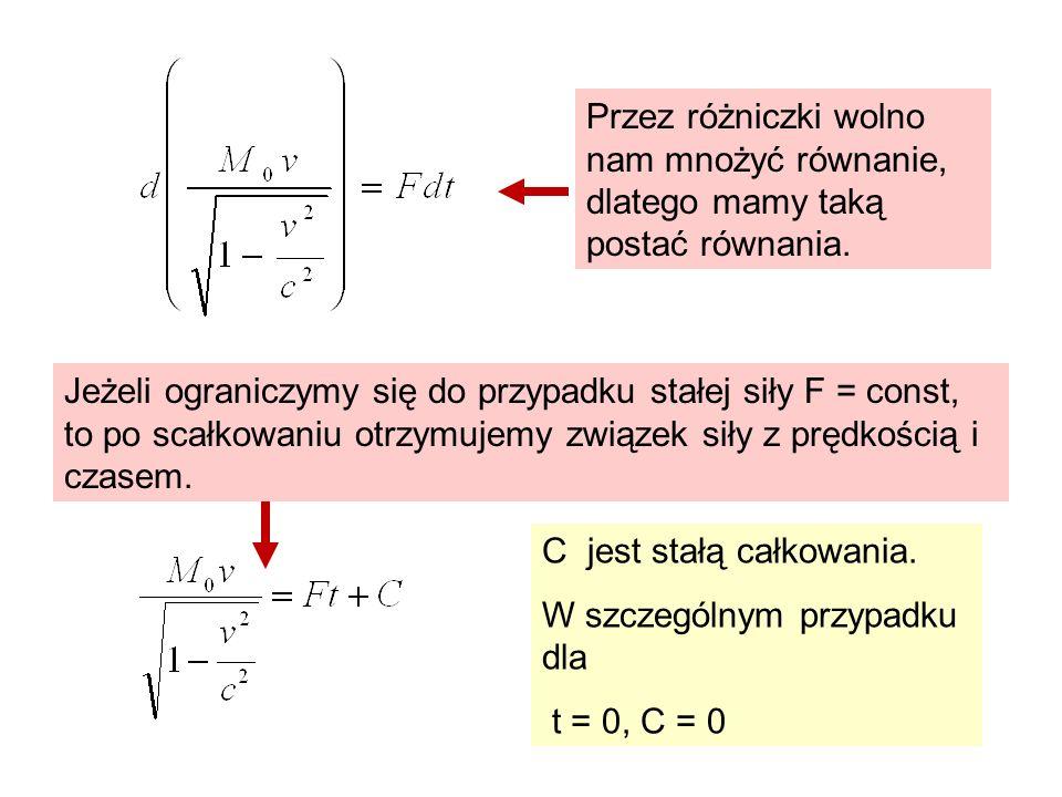 C jest stałą całkowania. W szczególnym przypadku dla t = 0, C = 0 Przez różniczki wolno nam mnożyć równanie, dlatego mamy taką postać równania. Jeżeli