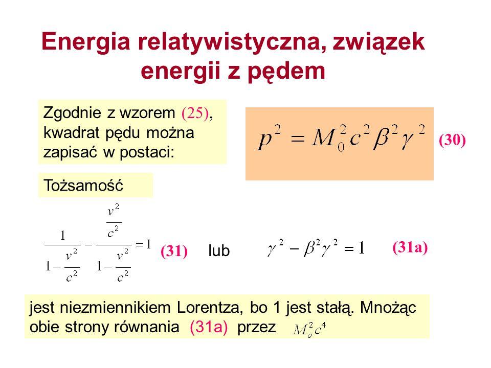 Energia relatywistyczna, związek energii z pędem Zgodnie z wzorem (25), kwadrat pędu można zapisać w postaci: Tożsamość lub jest niezmiennikiem Lorent
