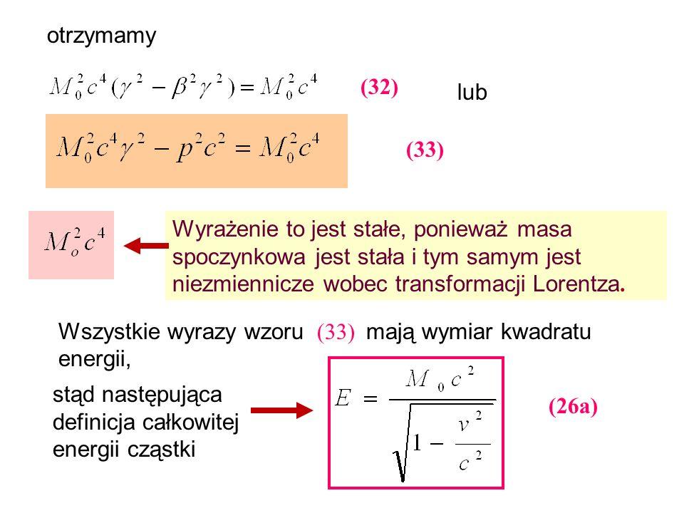 (26a) otrzymamy lub Wyrażenie to jest stałe, ponieważ masa spoczynkowa jest stała i tym samym jest niezmiennicze wobec transformacji Lorentza. Wszystk