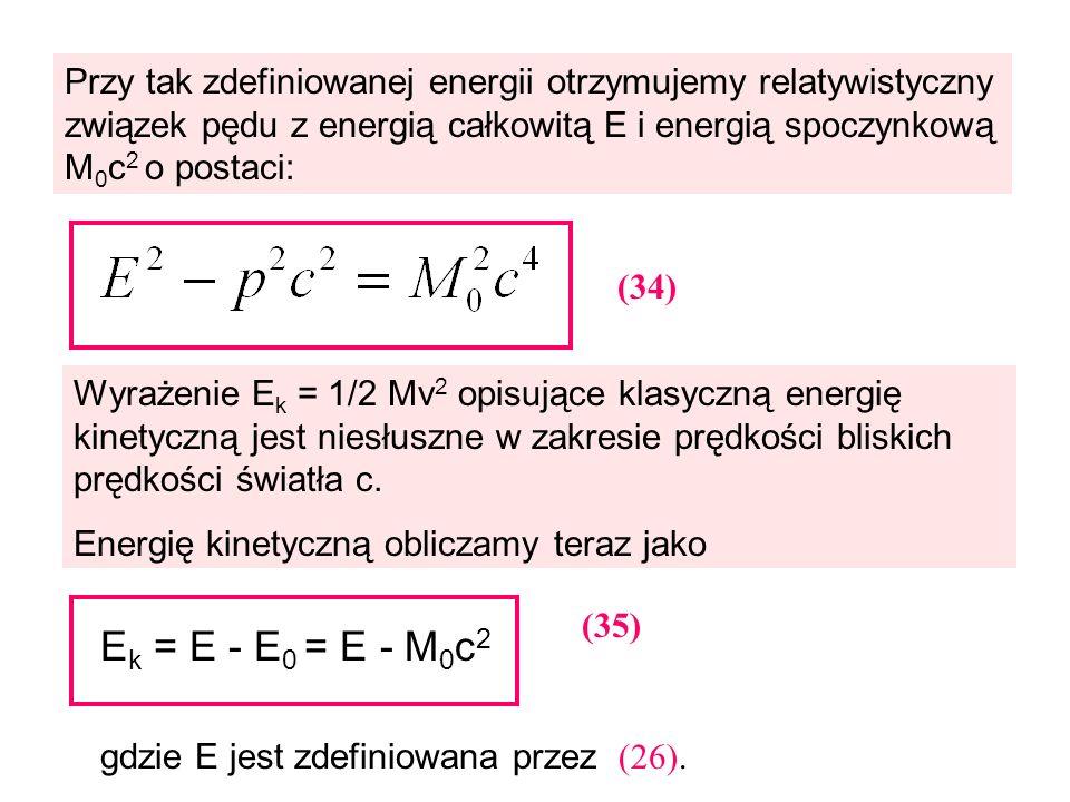 Przy tak zdefiniowanej energii otrzymujemy relatywistyczny związek pędu z energią całkowitą E i energią spoczynkową M 0 c 2 o postaci: (34) Wyrażenie