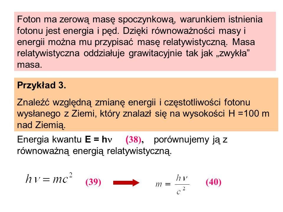 Foton ma zerową masę spoczynkową, warunkiem istnienia fotonu jest energia i pęd. Dzięki równoważności masy i energii można mu przypisać masę relatywis