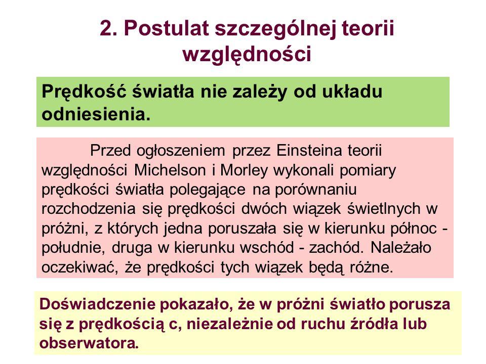 2. Postulat szczególnej teorii względności Prędkość światła nie zależy od układu odniesienia. Przed ogłoszeniem przez Einsteina teorii względności Mic
