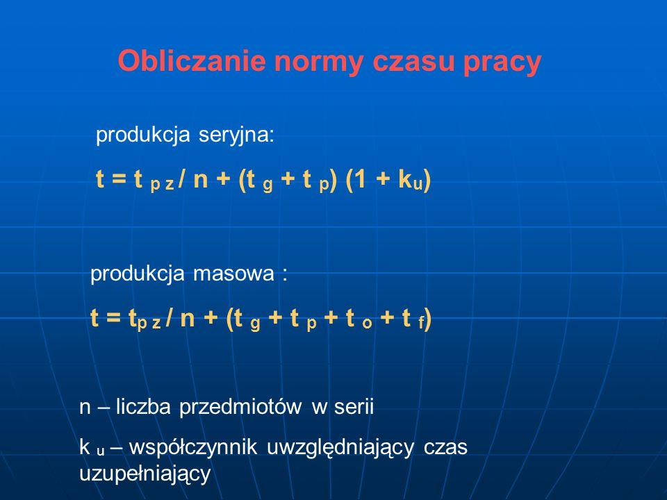 Obliczanie normy czasu pracy produkcja seryjna: t = t p z / n + (t g + t p ) (1 + k u ) produkcja masowa : t = t p z / n + (t g + t p + t o + t f ) n