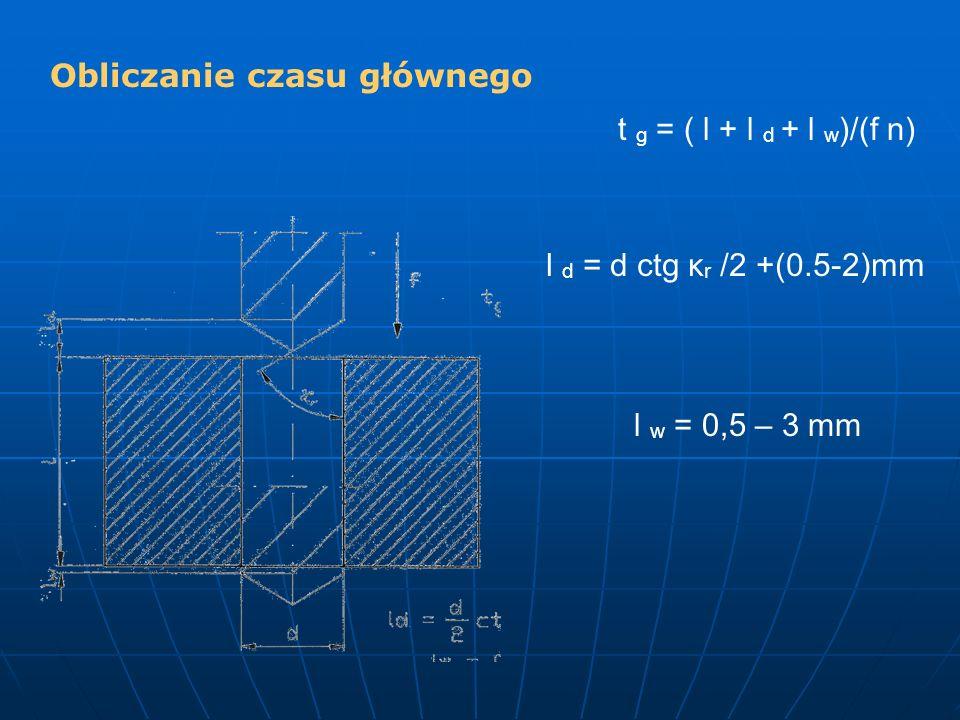 t g = ( l + l d + l w )/(f n) l d = d ctg κ r /2 +(0.5-2)mm l w = 0,5 – 3 mm Obliczanie czasu głównego