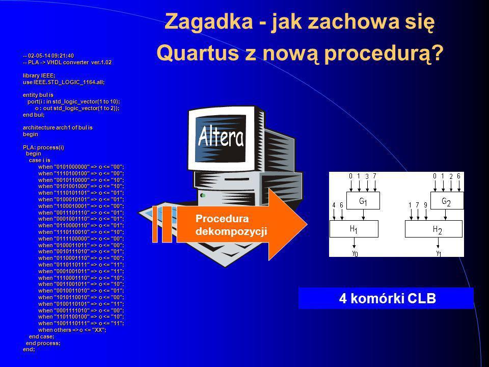 23 System Quartus Specyfikacja HDL Synteza funkcjonalna Synteza logiczna Odwzorowanie technologiczne Nowe procedury syntezy logicznej Tradycyjne proce