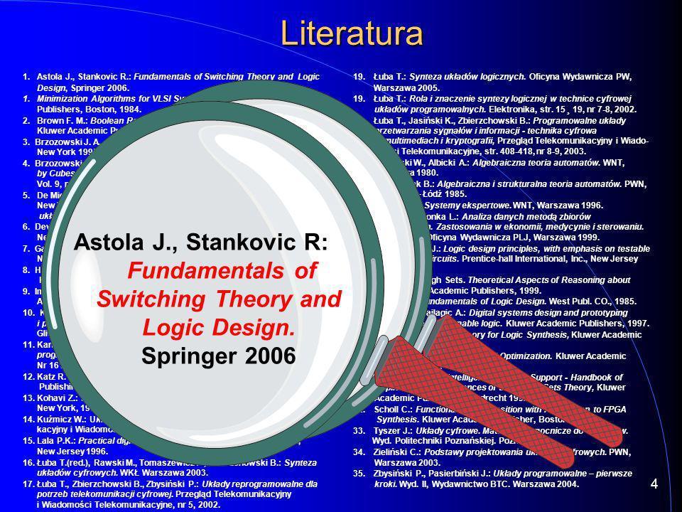 Procedura dekompozycji -- 02-05-14 09:21:40 -- PLA -> VHDL converter ver.1.02 library IEEE; use IEEE.STD_LOGIC_1164.all; entity bul is port(i : in std_logic_vector(1 to 10); port(i : in std_logic_vector(1 to 10); o : out std_logic_vector(1 to 2)); o : out std_logic_vector(1 to 2)); end bul; architecture arch1 of bul is begin PLA: process(i) begin begin case i is case i is when 0101000000 => o o <= 00 ; when 1110100100 => o o <= 00 ; when 0010110000 => o o <= 10 ; when 0101001000 => o o <= 10 ; when 1110101101 => o o <= 01 ; when 0100010101 => o o <= 01 ; when 1100010001 => o o <= 00 ; when 0011101110 => o o <= 01 ; when 0001001110 => o o <= 01 ; when 0110000110 => o o <= 01 ; when 1110110010 => o o <= 10 ; when 0111100000 => o o <= 00 ; when 0100011011 => o o <= 00 ; when 0010111010 => o o <= 01 ; when 0110001110 => o o <= 00 ; when 0110110111 => o o <= 11 ; when 0001001011 => o o <= 11 ; when 1110001110 => o o <= 10 ; when 0011001011 => o o <= 10 ; when 0010011010 => o o <= 01 ; when 1010110010 => o o <= 00 ; when 0100110101 => o o <= 11 ; when 0001111010 => o o <= 00 ; when 1101100100 => o o <= 10 ; when 1001110111 => o o <= 11 ; when others => o o <= XX ; end case; end case; end process; end process;end; Zagadka - jak zachowa się Quartus z nową procedurą.