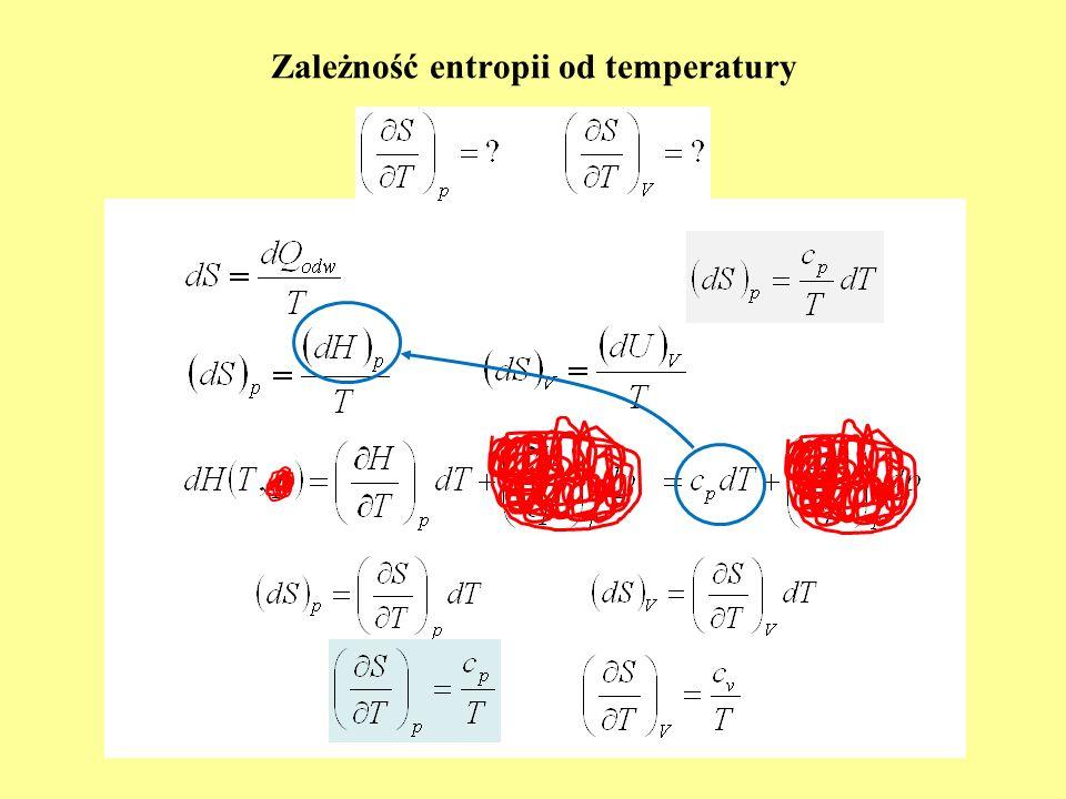 Porównanie izotermy i adiabaty odwracalnej dla tlenu opisywanych równaniem gazu doskonałego