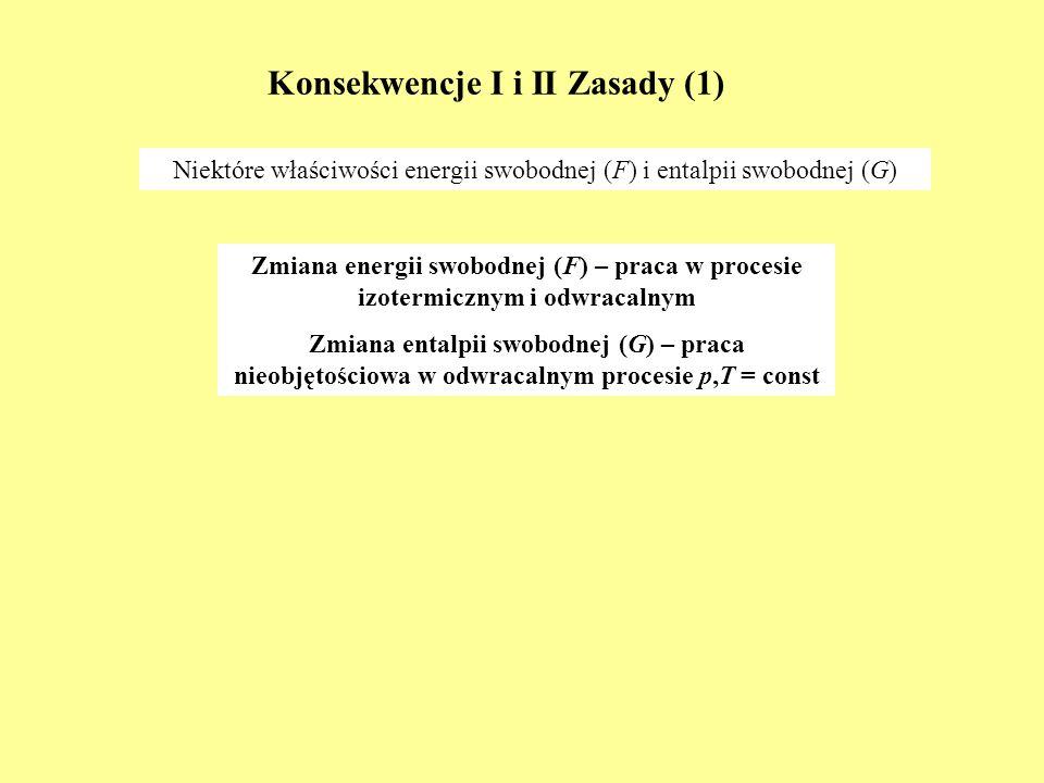 Konsekwencje I i II Zasady (1) Niektóre właściwości energii swobodnej (F) i entalpii swobodnej (G) Zmiana energii swobodnej (F) – praca w procesie izo