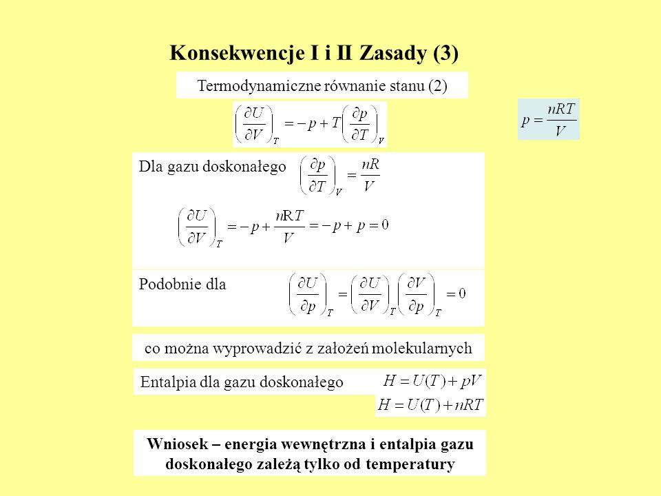 Dla gazu doskonałego Konsekwencje I i II Zasady (3) Termodynamiczne równanie stanu (2) Podobnie dla Wniosek – energia wewnętrzna i entalpia gazu dosko
