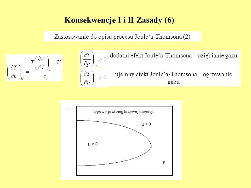 Konsekwencje I i II Zasady (6) Zastosowanie do opisu procesu Joulea-Thomsona (2) dodatni efekt Joulea-Thomsona – oziębianie gazu ujemny efekt Joulea-T