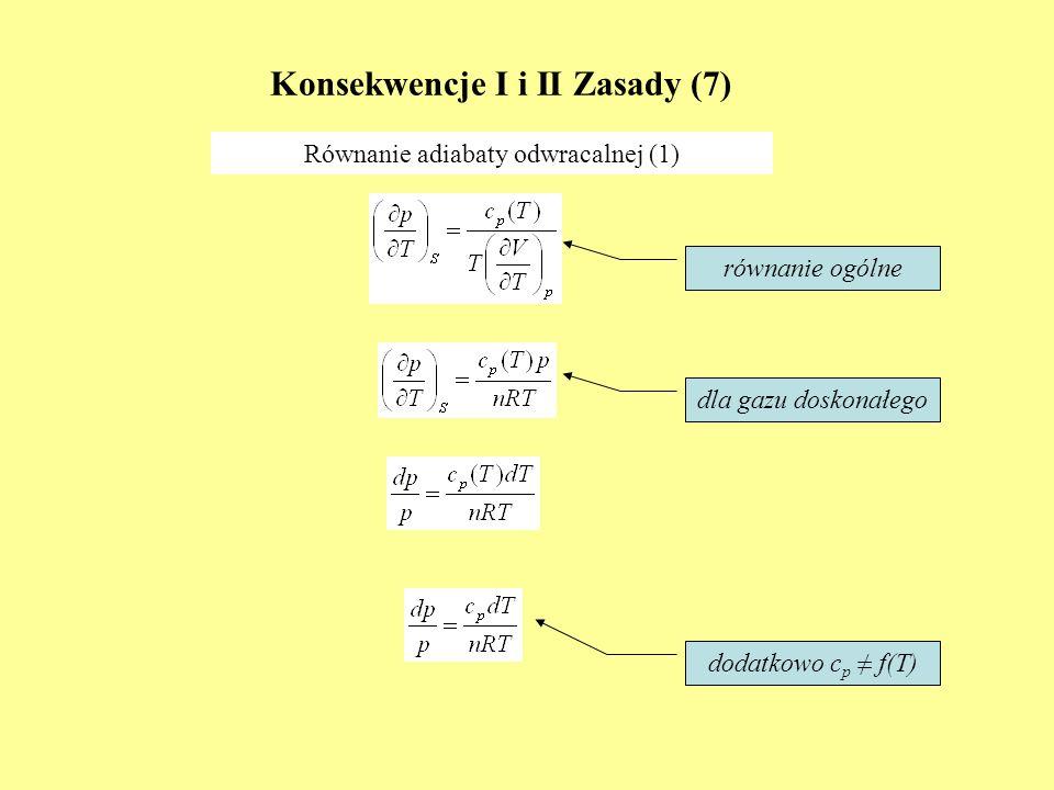 Konsekwencje I i II Zasady (7) Równanie adiabaty odwracalnej (1) równanie ogólne dla gazu doskonałego dodatkowo c p f(T)