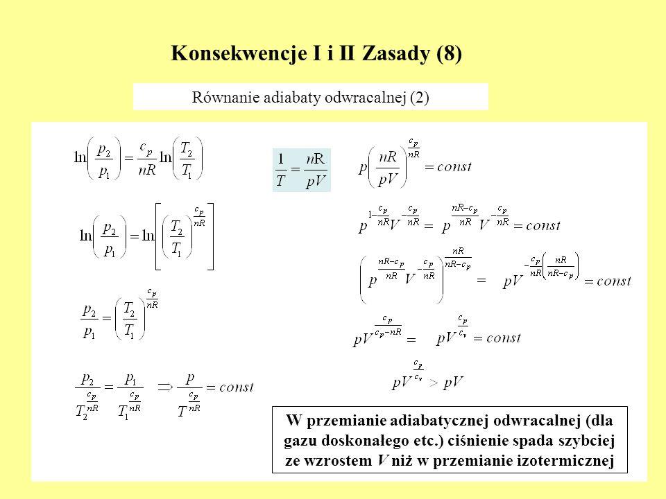 Konsekwencje I i II Zasady (8) Równanie adiabaty odwracalnej (2) W przemianie adiabatycznej odwracalnej (dla gazu doskonałego etc.) ciśnienie spada sz
