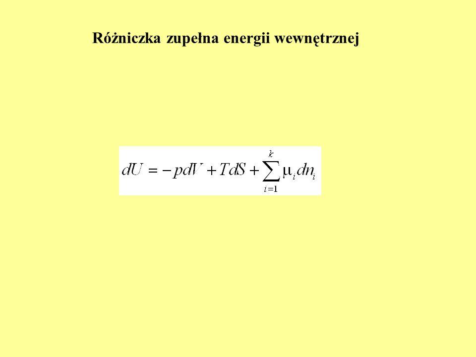 Równowaga w układzie wieloskładnikowym i wielofazowym (1) U, V, N = const układ jako całość izolowany, poszczególne fazy nie są izolowane względem siebie; możliwe: przekazywanie energii wewnętrznej (na sposób ciepła), zmiana objętości (praca objętościowa) i przenoszenie masy (dyfuzja składników) U = U + U = const V = V + V = const N = N + N = const αβ W warunkach równowagi entropia całego układu osiąga maksimum izolacja od otoczenia