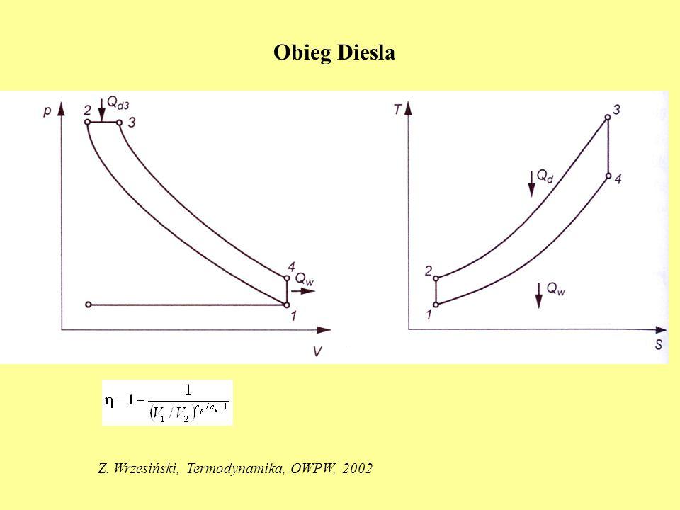 Obieg Diesla Z. Wrzesiński, Termodynamika, OWPW, 2002