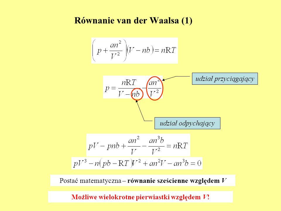 Równanie van der Waalsa (1) udział odpychający udział przyciągający Postać matematyczna – równanie sześcienne względem V Możliwe wielokrotne pierwiast