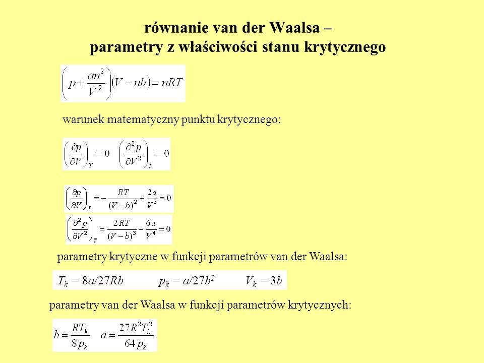równanie van der Waalsa – parametry z właściwości stanu krytycznego T k = 8a/27Rb p k = a/27b 2 V k = 3b warunek matematyczny punktu krytycznego: para