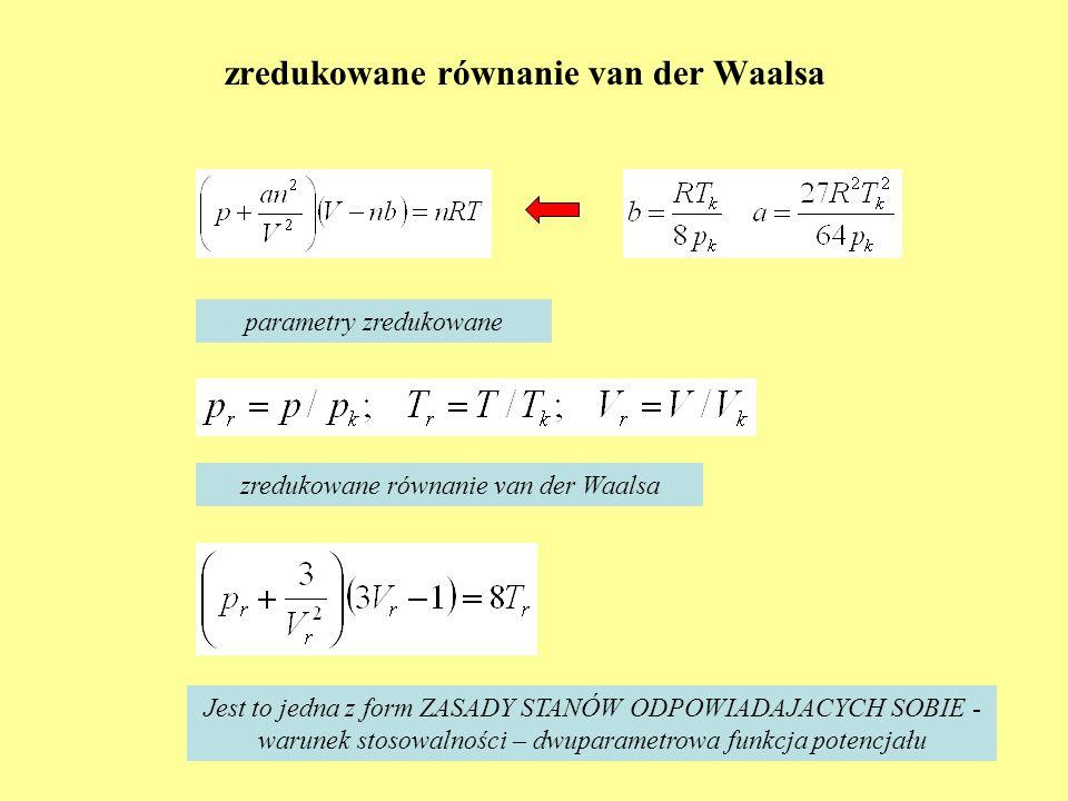 zredukowane równanie van der Waalsa parametry zredukowane zredukowane równanie van der Waalsa Jest to jedna z form ZASADY STANÓW ODPOWIADAJACYCH SOBIE