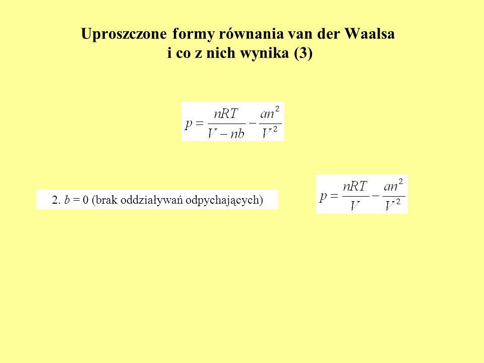 Uproszczone formy równania van der Waalsa i co z nich wynika (3) 2. b = 0 (brak oddziaływań odpychających)