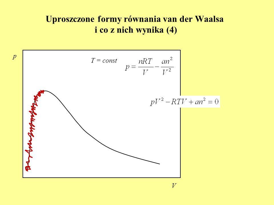 Uproszczone formy równania van der Waalsa i co z nich wynika (4) p V T = const