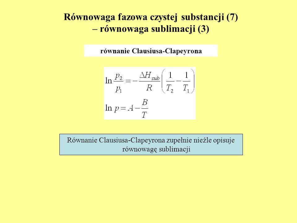 Równowaga fazowa czystej substancji (7) – równowaga sublimacji (3) równanie Clausiusa-Clapeyrona Równanie Clausiusa-Clapeyrona zupełnie nieźle opisuje